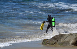 Scuba-duikers in Moss Street Cove, Laguna Beach, Californië stock fotografie