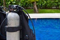 Scuba equipment. Scuba diving equipment on the swiming pool Royalty Free Stock Photos