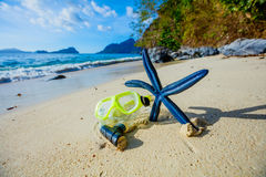 Scuba equipment on the beach Stock Images