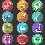 Scuba equipment flat color icons Royalty Free Stock Image