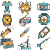 Scuba equipment flat style icons Royalty Free Stock Image