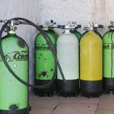 Scuba equipment tanks stock image