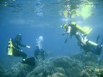 scuba för dykaregruppkurs Fotografering för Bildbyråer