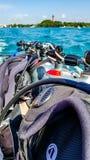 Scuba gear on dive boat. Scuba gear on back of dive boat stock photography