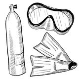 SCUBA gear drawing. Doodle style scuba gear in vector format including mask, fins, and air tank Royalty Free Stock Photos
