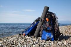 Scuba gear near the sea Royalty Free Stock Photo