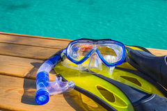Scuba gear at the sea Royalty Free Stock Images