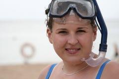 Scuba girl. A young girl in scuba gear Royalty Free Stock Photography