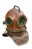 Scuba helmet. Old antique metal scuba helmet with clipping path isolated on white background Royalty Free Stock Photo