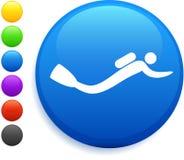 Scuba icon on round internet button Stock Photography