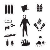 Scuba icons. Black and white scuba icons stock photo