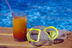 Scuba mask and cocktail Royalty Free Stock Image