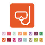 The scuba mask icon. Diving symbol. Flat Royalty Free Stock Images