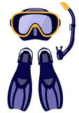 Scuba mask and snorkel, diving flippers isolated on white background, illustration. royalty free illustration