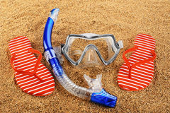 Scuba mask and snorkel on the sand. Stock Photo