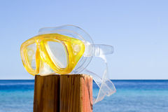 Lonely and sad scuba mask. summer is over Stock Images