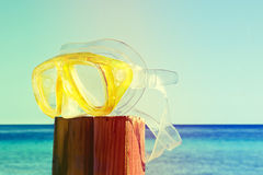 Scuba mask. summer is over, vintage, retro style Stock Photos