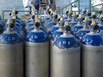 Scuba Oxygen Storage Tanks Royalty Free Stock Photography
