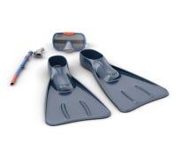 Scuba snorkeling blue diving set Stock Photo