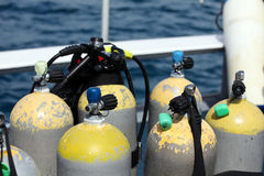 Scuba tanks and vest. Scuba diving equipment ready waiting on boat before dive stock photos