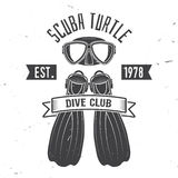 Scuba turtle dive club. Vector illustration. Concept for shirt or logo, print, stamp or tee. Vintage typography design with diving mask and fins silhouette Stock Images