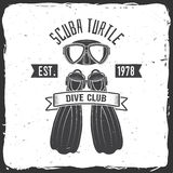 Scuba turtle dive club. Vector illustration. Stock Image