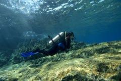 Scuba-uitrusting-duiker in ondiep water royalty-vrije stock afbeeldingen