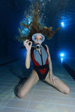 Scuba woman Royalty Free Stock Images