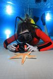 Scuba woman with camera. And red neoprene suit underwater in the pool royalty free stock images