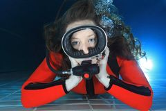 Scuba woman underwater Stock Photos