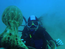 Scubadiver和章鱼 免版税库存照片
