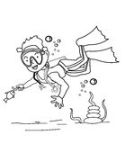 Scubadiver coloring page Royalty Free Stock Photo