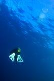 Scubadiver con la bolla di aria Fotografia Stock Libera da Diritti