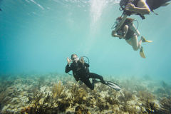 Scubadiver doing the okay sign underwater at San Andres Island, Royalty Free Stock Photos