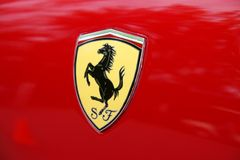 Scuderia Ferrari. Close-up of Scuderia Ferrari emblem Stock Photo