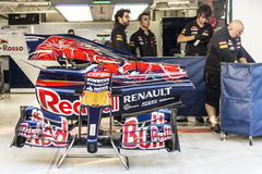 Scuderia Toro Rosso. Mechanics. Adjustment of car Daniel Kvyat. Sochi, Russia -9 November 2014 : Formula One, Russian Grand Prix,  Sochi autodrom , 16 stage Stock Photo