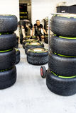 Scuderia Toro Rosso. Mechanics. Checking the tyres before the ra. Sochi, Russia -9 November 2014 : Formula One, Russian Grand Prix,  Sochi autodrom , 16 stage Stock Image