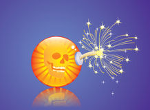Scull bomb. Glossy orange bomb with a scull inside it associated with financial crisis Stock Photos