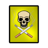 Scull with cigarettes. Skull with cigarettes,on white background Royalty Free Stock Images