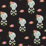 Scull com o papel de parede sem emenda das rosas Imagem de Stock