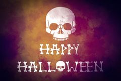 A scull on dark colorful yellow violet grunge background. Halloween greeting card. stock illustration