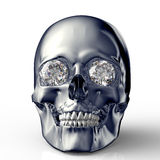 Scull with diamond eyes isolated on white with clipping path Stock Photos