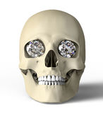 Scull with diamond eyes isolated on white with clipping path Royalty Free Stock Photo
