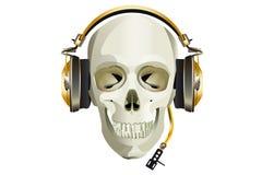Scull DJ mit Kopfhörern stockbilder