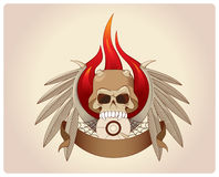 Scull in horned helmet with wings and fire Stock Images