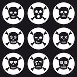 Scull icons set. Scull emotion icons set. Smile symbols Royalty Free Stock Images