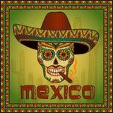 Scull mexicano tradicional com sombreiro Fotos de Stock