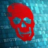 Scull op blauwe digitale achtergrond veiligheidsconcepten Stock Afbeeldingen