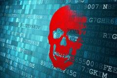 Scull på blå digital bakgrund säkerhetsbegrepp arkivbild