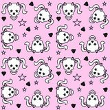Scull pattern seamless. Cute seamless scull pattern on pink background Stock Photo